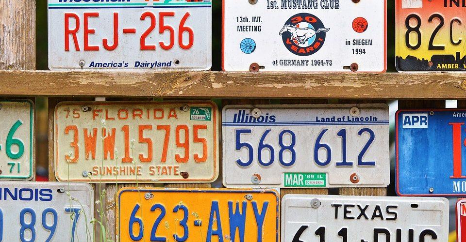 Plaque d'immatriculation de voiture